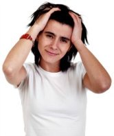 stressed woman pulling hair