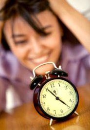 woman watching clock