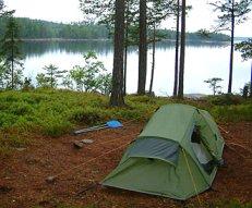camping set-up by a lake