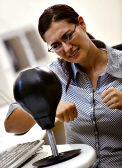 Using a punching bag to handle stress