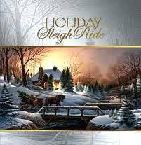 Holiday sleigh ride scene
