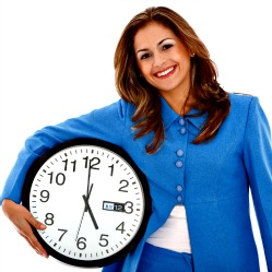 Woman with Clock Managing Time
