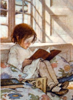 little girl reading by the window