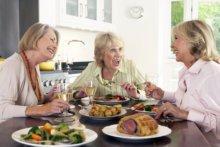three women enjoying lunch