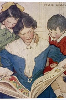 painting of mother reading to two children