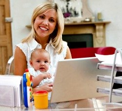 Mom and child in home office
