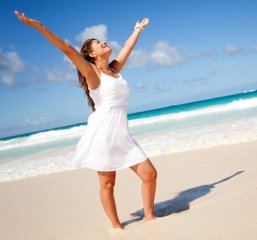 stress-free girl on beach